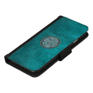 Aquamarines Leder und keltischer Knoten iPhone iPhone 8/7 Geldbeutel-Hülle