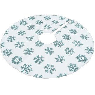 Aquamarines Monogramm-Schneeflocke-Winter-Weiß Polyester Weihnachtsbaumdecke