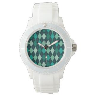 Aquamarines Rautenmuster Armbanduhr