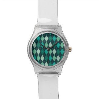 Aquamarines Rautenmuster Uhr