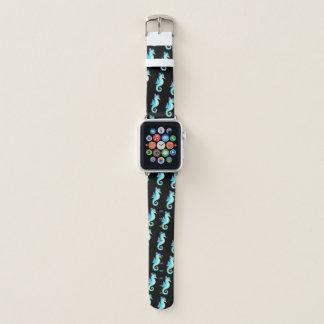 Aquamarines Seepferd auf Schwarzem Apple Watch Armband