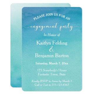 Aquamarines u. blaues Ombre 12,7 X 17,8 Cm Einladungskarte
