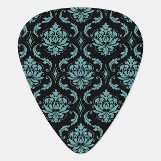 Aquamarines und schwarzes Vintages Damast-Muster Plektrum