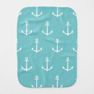 Aquamarines und weißes Anker-Muster 1 Spucktuch