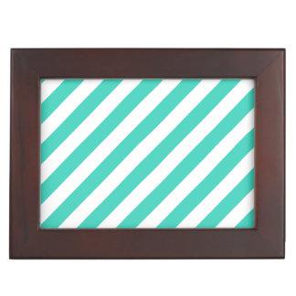 Aquamarines und weißes diagonales Streifen-Muster Erinnerungsdose