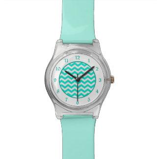 Aquamarines weißes Zickzack Uhren