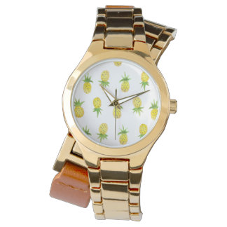 Aquarell-Ananas-Muster-Verpackungs-Uhr Armbanduhr