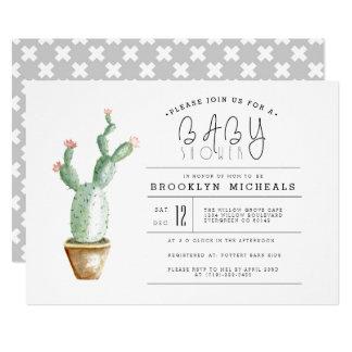 Aquarell-Babyparty des Kaktus-Pflanzer-  Karte
