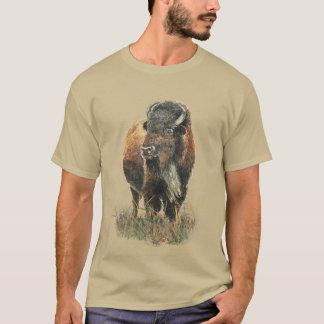 Aquarell-Bison-Büffel-Tiernatur-Kunst T-Shirt