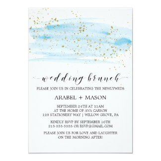 Aquarell-Blau und Goldschein-Hochzeits-Brunch 12,7 X 17,8 Cm Einladungskarte