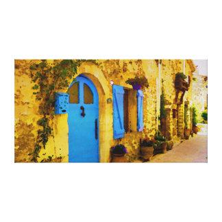 Aquarell-blaue Tür in Tourrettes-sur-Loup Leinwanddruck