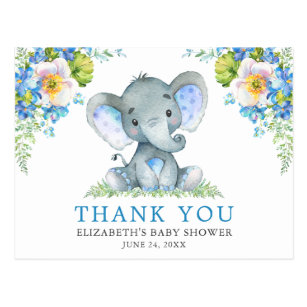 Aquarell Blauer Blumenstrauß Elefant Babydusche Postkarte