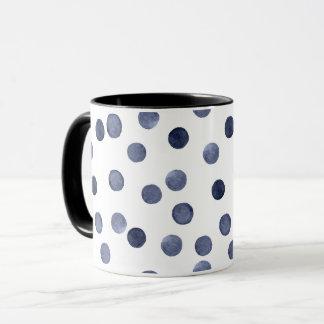 Aquarell. Blauer Tupfen Tasse