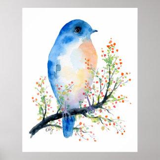 Aquarell-blauer Vogel auf Beeren-Niederlassung Poster