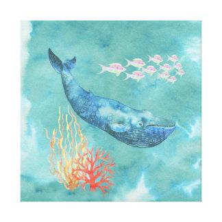 Aquarell-Blauwal ID368 Leinwanddruck