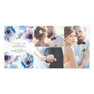 Aquarell BlumenBoho versieht blaue Hochzeit mit Karte