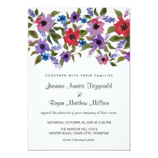 Aquarell-Blumenbündel-Hochzeits-Chic 12,7 X 17,8 Cm Einladungskarte