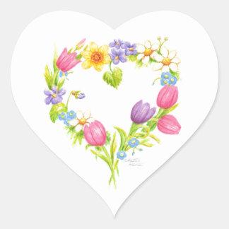 Aquarell-Blumenherz-Aufkleber Herz-Aufkleber