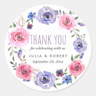 Aquarell-BlumenKranz Wedding | danken Ihnen Runder Aufkleber