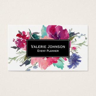 Aquarell-Blumenstrauß Visitenkarten