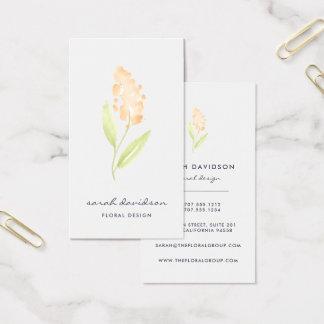 Aquarell-Blumenvertikale der Pfirsich-Blüten-| Visitenkarte