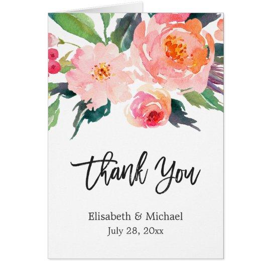 Aquarell-botanische BlumenKalligraphie danken Mitteilungskarte