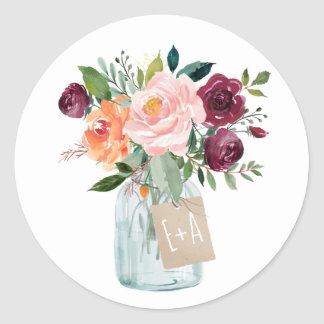 Aquarell-Burgunderorange rosa BlumenWeckglas Runder Aufkleber