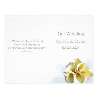 Aquarell Callalilien-Bifalte Hochzeitsprogramm