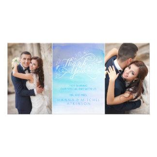 Aquarell-danken blaue Typografie-Hochzeit Ihnen Karte