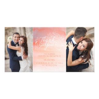 Aquarell-danken rosa Typografie-Hochzeit Ihnen Karte