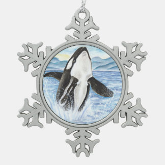 Aquarell, das Schwertwal-Wal durchbricht Schneeflocken Zinn-Ornament