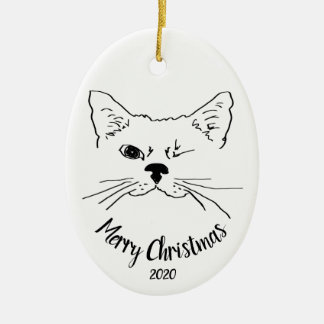Aquarell datiert, Katzenspaß frohe Weihnachten Keramik Ornament