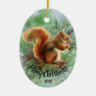 Aquarell-datiertes Eichhörnchen-tierische frohe Keramik Ornament