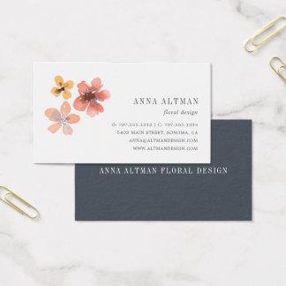 Aquarell der Herbst-Blüten-| mit Blumen Visitenkarte