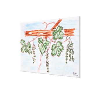 Aquarell der Reben mit Trauben | Frankreich Leinwanddruck