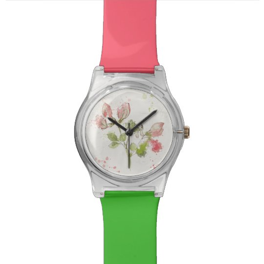 Aquarell der süßen Erbse Uhr