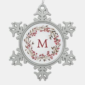 Aquarell des Weihnachten| - festlicher Schneeflocken Zinn-Ornament