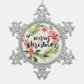 Aquarell des Weihnachten| - frohe Weihnacht-Kranz Schneeflocken Zinn-Ornament
