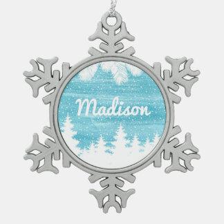 Aquarell des Weihnachten| - Schnee-Kiefer Schneeflocken Zinn-Ornament