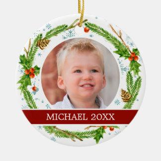 Aquarell des Weihnachten| - Schneeflocke-u. Keramik Ornament