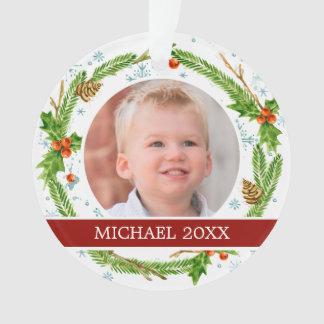 Aquarell des Weihnachten| - Schneeflocke-u. Ornament