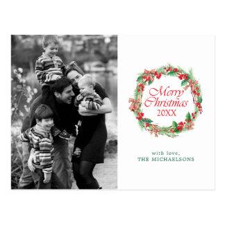 Aquarell des Weihnachten| - Stechpalmen-u. Postkarte