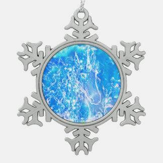 Aquarell-Einhorn mit sternenklarer Schneeflocken Zinn-Ornament