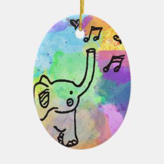 Aquarell-Elefant 1 Keramik Ornament