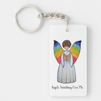 Aquarell-Engel mit Regenbogen Wings, ein Buch Schlüsselanhänger
