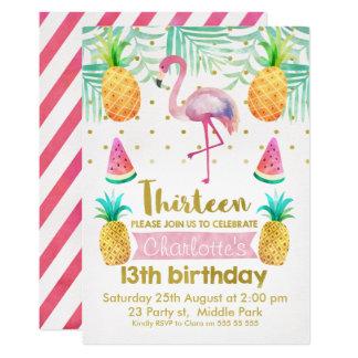 Aquarell-Flamingo-13. Geburtstags-Einladung Karte