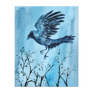 Aquarell-Fliegen-Krähe Leinwanddruck