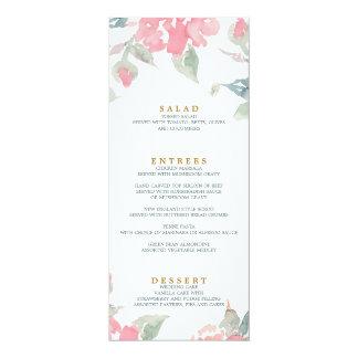 AQUARELL-GARTEN-HOCHZEITS-Hochzeitsabendessenmenü Karte