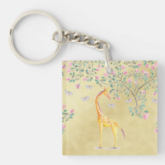 Aquarell-Giraffen-Schmetterlinge und Blüte Einseitiger Quadratischer Acryl Schlüsselanhänger