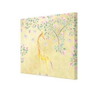 Aquarell-Giraffen-Schmetterlinge und Blüte Leinwanddruck